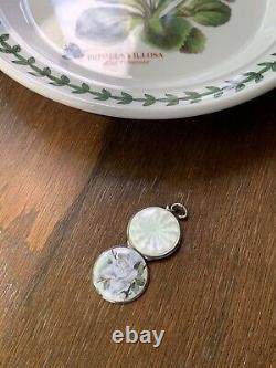 Periwinkle Blue ROSE Floral Guilloche ENAMEL Sterling Silver LOCKET Antique Gift