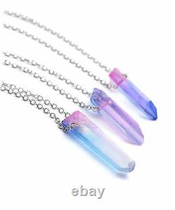 Pink & Blue Angel Quartz Crystal Stone Necklace- Boho Aura Silver Pastel- Gift