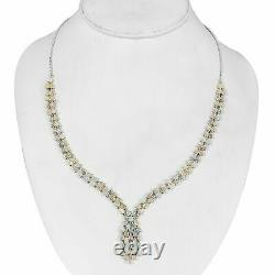 Platinum Over 925 Sterling Silver Opal Necklace Gift Jewelry Size 18 Ct 16.4
