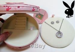 Playboy Jewelry Gift Set Bunny Necklace Earrings Swarovski Crystal Jewellery Box
