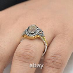 Polki Diamond Pave 14K Yellow Gold FINE Ring 925 Silver Handmade Gift Jewelry