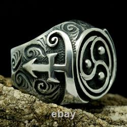 Prince Love Symbol Bdsm Jewelry Triskelion Ring Sterling Silver Mens Gift