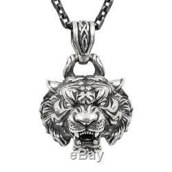 Punk Tiger Pendant Necklace 925 Silver Jewelry Original Retro Men's Gift