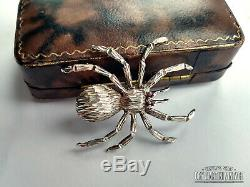 Rare Antique Victorian Sterling Silver Spider Insect Garnet Eyes Brooch Pin Gift