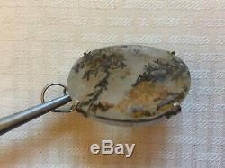 Rare Unique Vtg GiftNative Navajo Sterling Silver Moss Agate PendantFree Ship