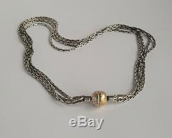 Rarer Danish 90's Rauff Silver 925s & 14k Gold Modernist Necklace w 2 GIFTS