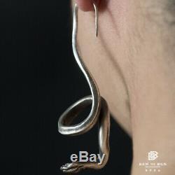 Retro Snake Eardrop Earrings 925 Silver Ear Hook Jewelry Xmas Gift 1PC Handmade