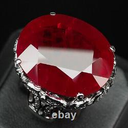 Ruby Blood Red Oval 54.90 Ct. Sapp 925 Sterling Silver Ring Sz 7.25 Jewelry Gift