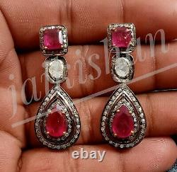 Ruby Gemstone Earring 925 Silver Real Polki Diamond Earring Antique Gift Jewelry