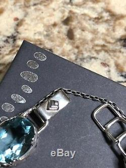 SILPADA STERLING SILVER AQUA GLASS PANEL BRACELET Gift