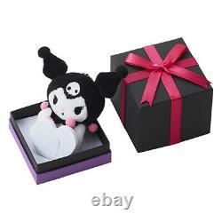 Sanrio My Melody Kuromi Heart Necklace Plush Doll Pinkgold Gift Box Japan New