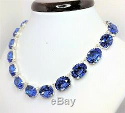 Sapphire Blue Crystal Silver Necklace Georgian Collet Statement Gift Boxed