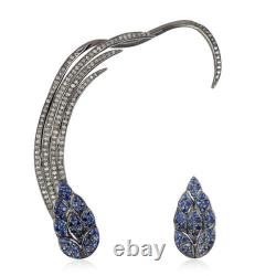 Sapphire Pave Diamond 925 Sterling Silver Cuff Earring Fine Gift her Jewelry GG