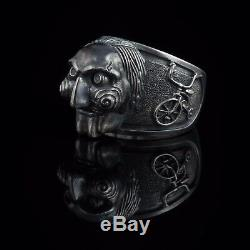 Saw Horror Ring, Billy the Puppet, sterling silver, handmade. Halloween gift