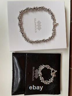 Silvarious Classic Berry Necklace And Bracelet, Solid Sterling Silver, Gift Box