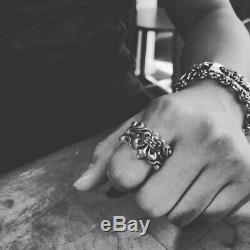 Silver Fleur de Lis Ring Adjustable Gothic Punk Biker Ring Gift for Him for Men
