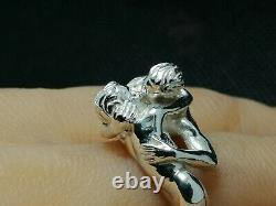 Silver Gay kissing Ring, Pride Jewelry, valentines gift