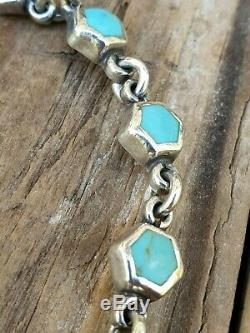 Silver Sterling 925 Bracelet Turquoise Jewellery Jewelry Gift Ladies 7.5 Long