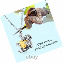 Sloth Gifts Sterling Silver Sloth Necklace Heart Animal Pendant for
