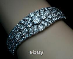 Solid 925 Sterling Silver Art Deco Round Best Wedding Bracelet Jewelry Gift