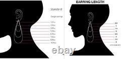 Solid 925 Sterling Silver Big Blue Pear Wedding Earrings Women Jewelry Gift
