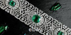 Solid 925 Sterling Silver Green Cushion Art Deco Bracelet Jewelry Women Gift
