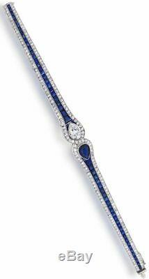 Solid 925 Sterling Silver Pear Baguette Bracelet Jewelry CZ Women Gift Vintage