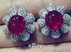 Solid 925 Sterling Silver Red White Flower Stud Earrings Jewelry Women Gift New