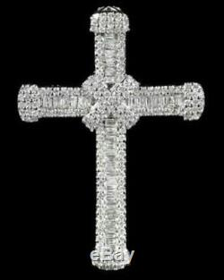 Solid 925 Sterling Silver Round Baguette Cross Pendant Jewelry Women Gift Nw