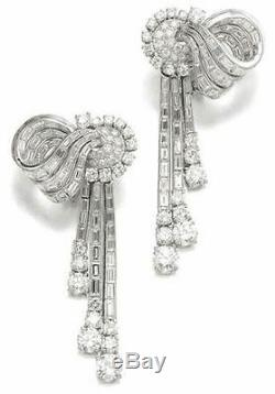 Solid 925 Sterling Silver Round Baguette Wedding Dangle Earrings Jewelry Gift