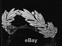 Solid 925 Sterling silver Queen White Leaf Tiara Crown Gift Wedding Jewelry Cz