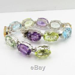 Solid Sterling Silver 0.925 Multi Stone Bracelet Exclusive Jewelry Free Gift Box