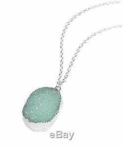 Sparkly Turquoise Quartz Crystal Druzy Stone Necklace-Boho Silver-Gift Jewellery