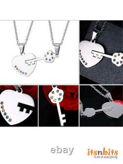 Stainless Steel Rainbow Heart & Key Couple Necklaces PRIDE LGBT Gay Lesbian Gift