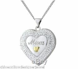 Sterling Silver 9ct Yellow Crystal Mum Locket Pendant + 18 Necklace + gift bag