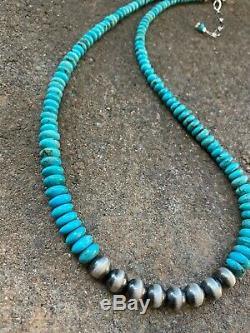 Sterling Silver Graduated Turquoise W Navajo Pearls Bead Necklace. 18 Mom Gift