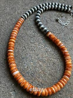 Sterling Silver Orange Spiny Oyster W Pearls Bead Necklace. 18 inch. Gift