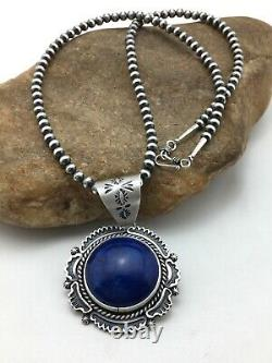 Stunning GIFT SALE Navajo Sterling Silver LAPIS Necklace Pendant Set 2.7 4262