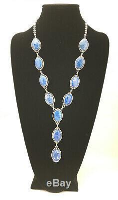 Stunning Gift NAVAJO Sterling Silver Denim Lapis Lazuli LARIAT 24 Necklace 4902
