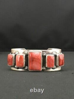 Stunning Navajo Indian Spiny Oyster Sterling Silver Cuff Bracelet 1314 Moms Gift