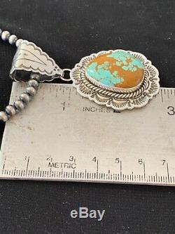 Stunning Navajo Sterling Silver Blue TURQUOISE #8 Necklace Pendant Set 3066 Gift