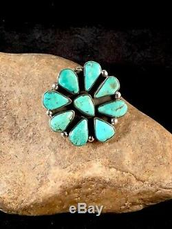 Stunning Navajo Sterling Silver Blue Turquoise Cluster Ring Sz 8.5 Gift 8678