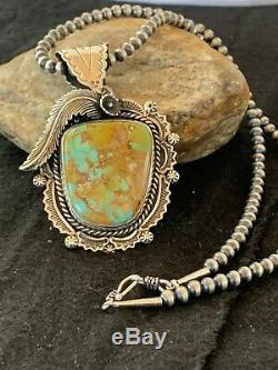 Stunning Navajo Sterling Silver ROYSTON TURQUOISE Necklace PENDANT 4126 Gift