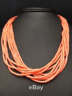 Stunning Pink Coral Heishi 10S Sterling Silver Necklace 20 4388 Gift Sale