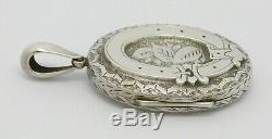 Superb Victorian Solid Silver Art Nouveau Locket Belt Motif Hm 1882 Great Gift