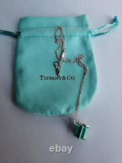 TIFFANY & CO Blue Enamel Gift Box Pendant Charm in Sterling Silver