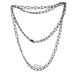 Thanksgiving Gift 42.99inch Size Long Chain Necklace 925 Sterling Silver Jewelry