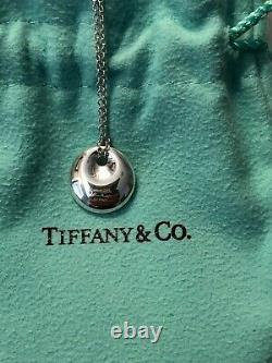 Tiffany & Co. Elsa Peretti. 925 Sterling Silver Disc Pendant Necklace+Box+Gift Bag
