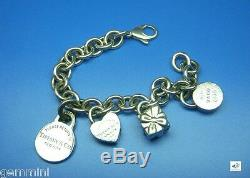 Tiffany & Co Silver Gift Box Love Lock Heart Padlock 4 Charm Bracelet 7 inch