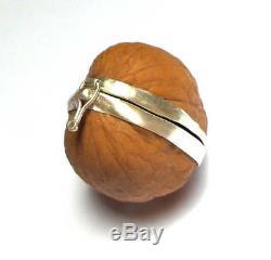TrendyIndians Walnut Box Handmade Creative Walnut Silver Frame Jewelry Box Gift